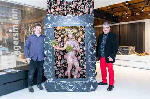 guests posing in photo booth in the eggersmann kitchens chicago showroom during the rndd gallery walk 2019