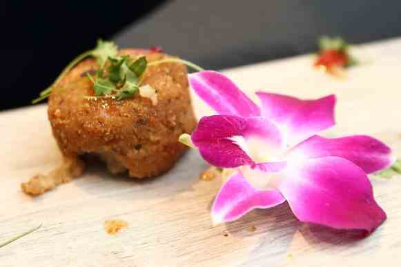 mushroom risotto cake s by chef mark of dine catering of houston