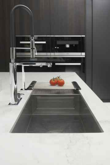 elegant kitchen sink with extra tall gooseneck pot filler faucet