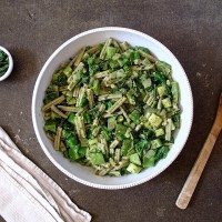 Early Summer Pasta with Creamy Walnut Basil Sauce