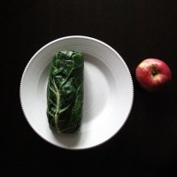 early autumn collard wraps with beet hummus, orange quinoa salad + apple slices