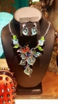 Metal Lotus flower and butterfly necklace