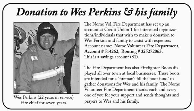 Fundraiser for Wes Perkins by the Nome Volunteer Fire Department