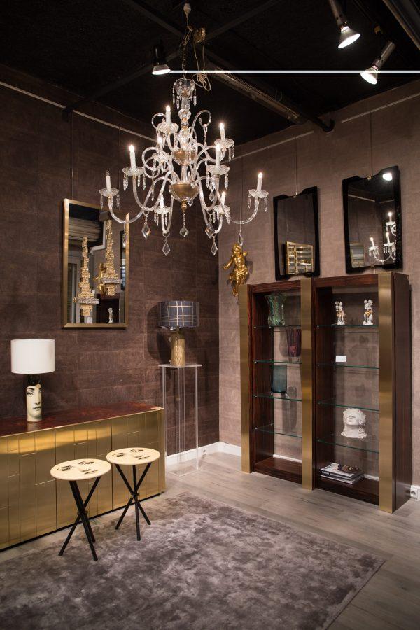 Lampadario in ottone e cristallo a 8 luci, italia, anni '50 : Lampadario Murano Archimede Seguso Egidi Madeinitaly