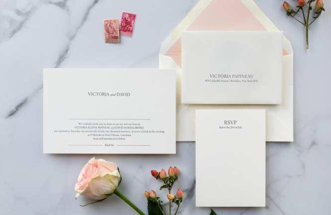 No 8 Modern Minimalist Letterpress Wedding Invitation