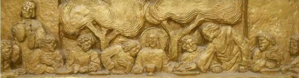 Vue de la Cène du retable du maître-autel déplacé dans la crypte de l'église Saint-Pierre de Chaillot (© Jérôme Bohl)