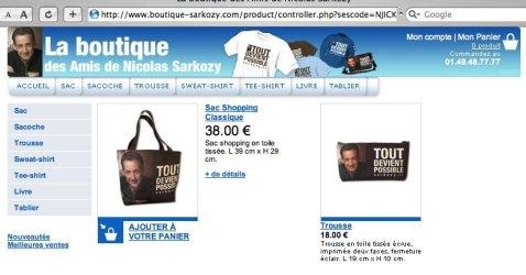 Top vente Boutique Sarkozy / 22 janvier 20h