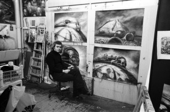 H.R. Giger at work on 'Dune'