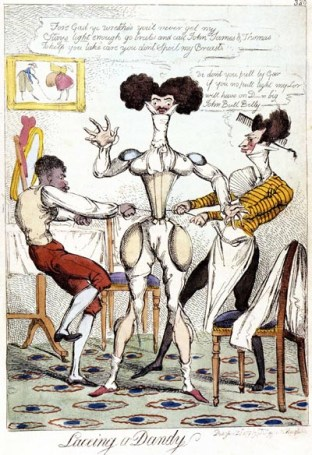 1819, caricature Lacing a dandy