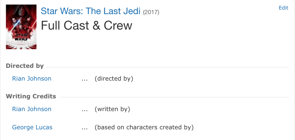 IMDB screenshot - Star Wars: The Last Jedi credits page.