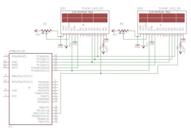 Cara Membuat Rangkaian 2 Buah LCD 16 x 2