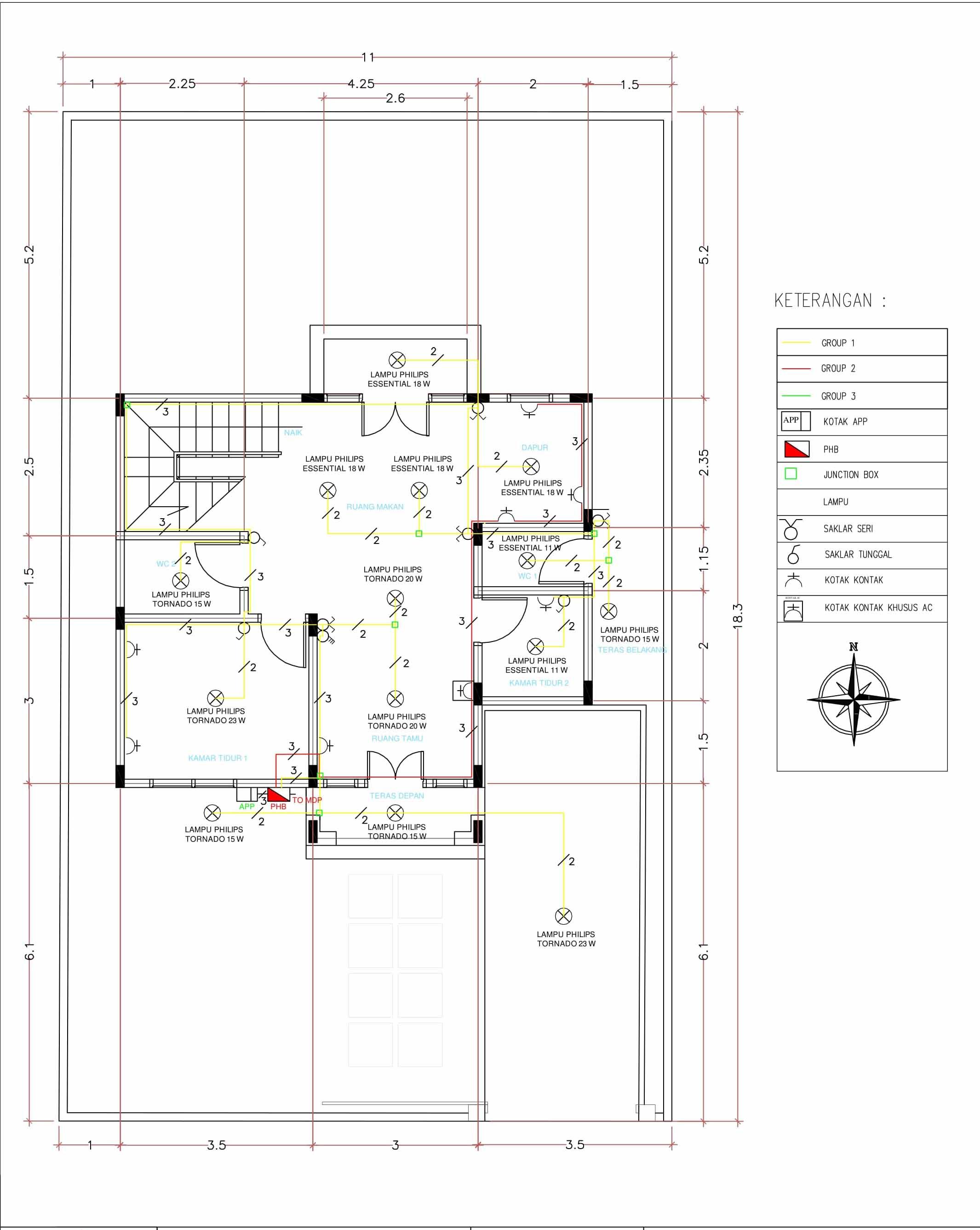 Perencanaan Instalasi Listrik Rumah Bertingkat Dua Lantai