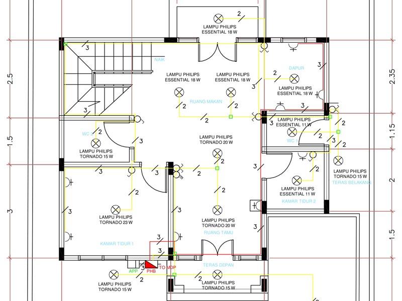 Wiring Diagram Instalasi Listrik : Perencanaan instalasi listrik rumah bertingkat dua lantai