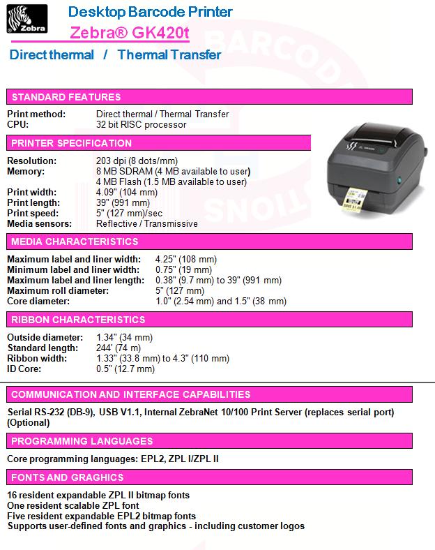 Zebra® GK420t