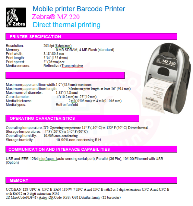 Zebra® MZ 220