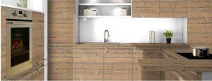 A munkalap és az ajtók egy szanben egy konyhaszkrényben