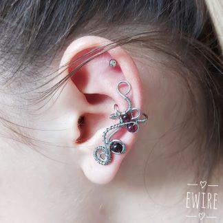 drótékszer vörös gránát füldísz fülékszer 1