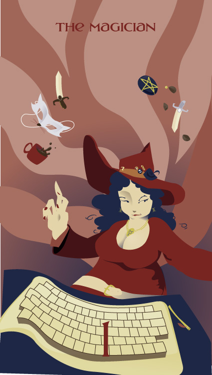 Tarot of the Silicon Dawn - The Magician - A busty, long-haired individual in a traditional witch's hat and with a wand at her side, sits at a computer keyboard and points to the space above her head, where knives, a pentacle, a mug of coffee, a mask, and what look like a few chocolates(?) float and dance to her Will.