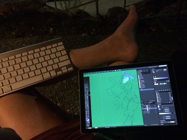 sitting in a chair outside on Wednesday night, balancing keyboard and Surface on my legs.