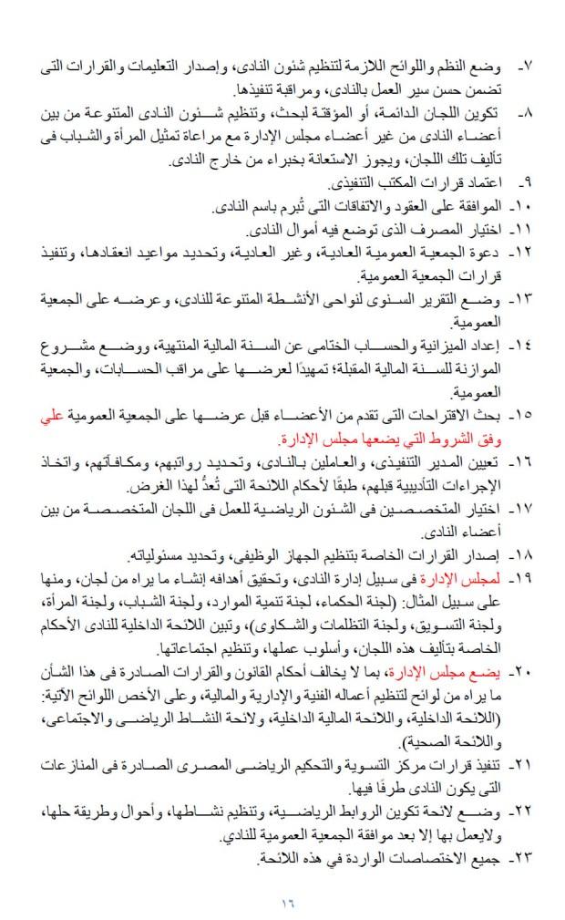 اختصاصات مجلس ادارة النادى