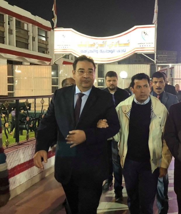 وزير الرياضة ونقيب الصحفيين وأعضاء مجلس النواب فى الزمالك لافتتاح صالة الجمباز