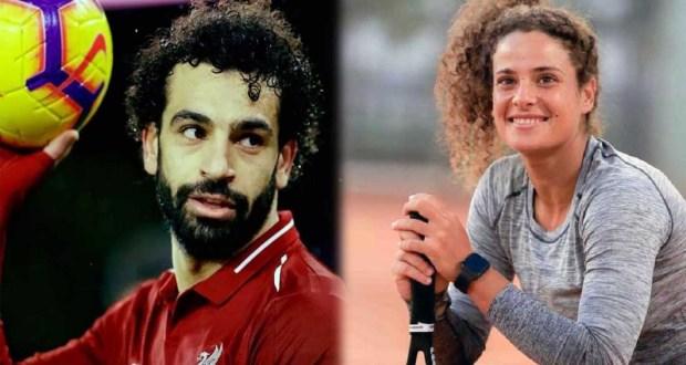 ميار شريف لاعبة التنس الأولمبية ومحمد صلاح نجم ليفربول الإنجليزي