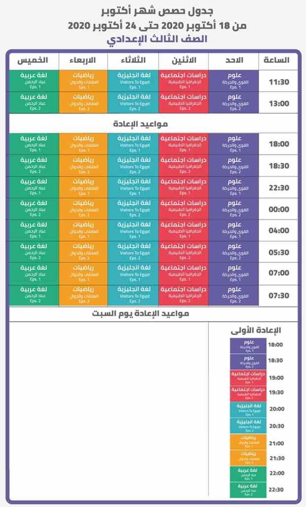 جدول مواعيد حصص الصف الثالث الإعدادي على قناة مدرستنا