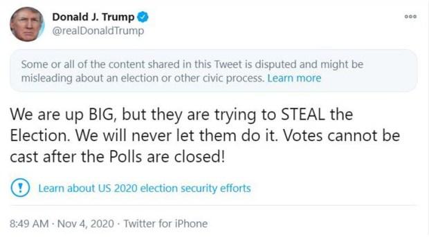 ترامب يعلن سرقة الانتخابات الأمريكية وتزويرها