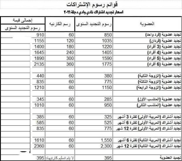 اسعار تجديد اشتراك نادي وادي دجلة 2021