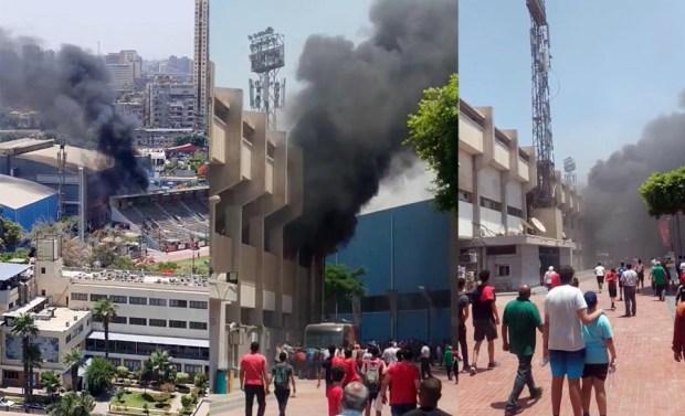 حريق النادي الاهلي بمدرج التتش