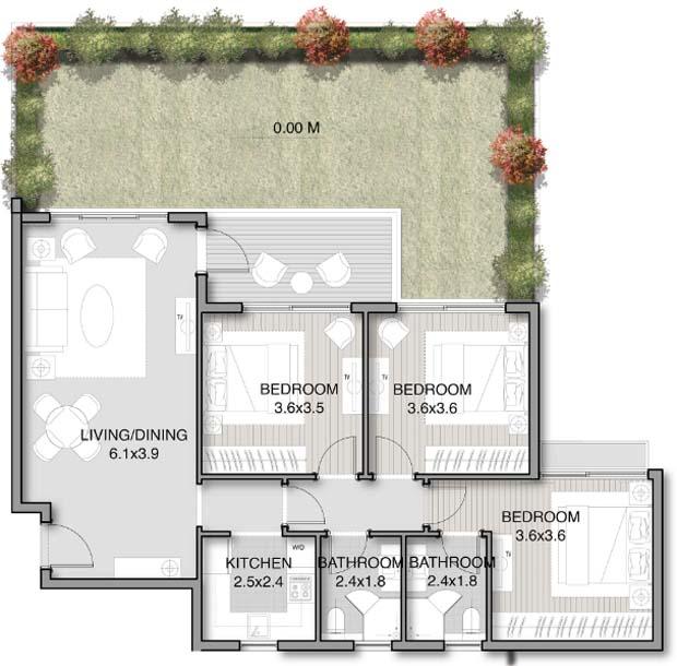 نموذج شقة 104 متر دور ارضي بحديقة