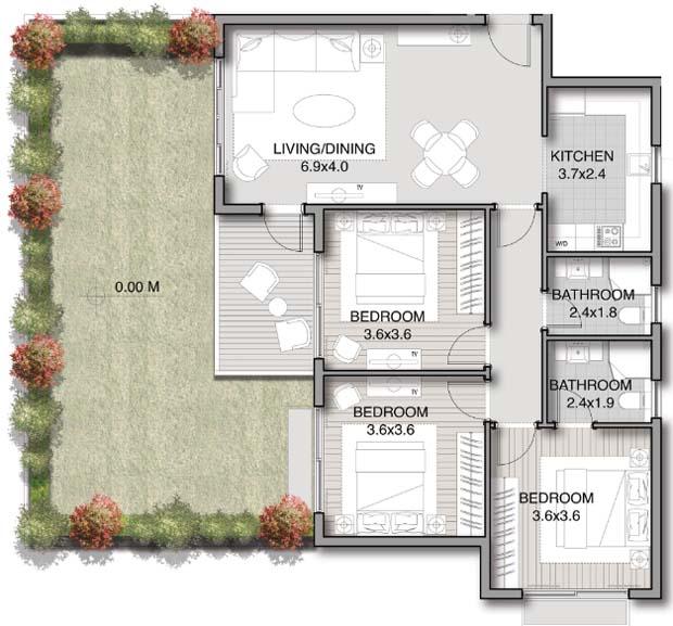 نموذج شقة 120 متر ارضي