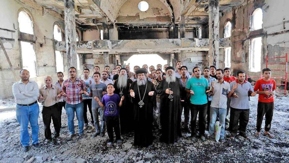 Image result for pictures of destroyed churches in Egypt