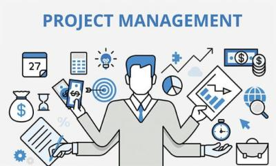 This picture is a representation of what project management looks like. It involves money, organization, data etc.