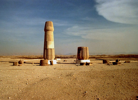 Reconstructed columns in the Small Aten Temple