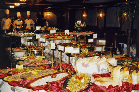 Buffet lunch on a cruise ship