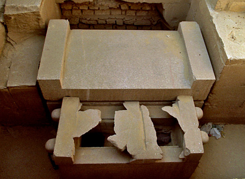 Granite sarcophagus in the burial chamber