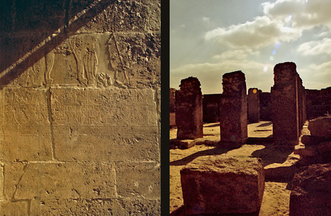 Pillars and reliefs in the courtyard