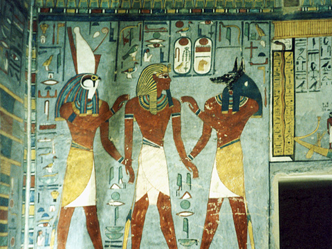 Rameses I welcomed by Anubis and Harsiesi