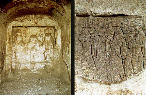 Reliefs in the Hathor Chapel and on the Ramesside Stele
