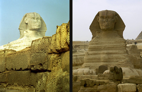 The Sphinx showing the Dream Stele between its paws