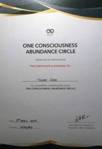 Certificate One Consciousness Abundance Circle 3