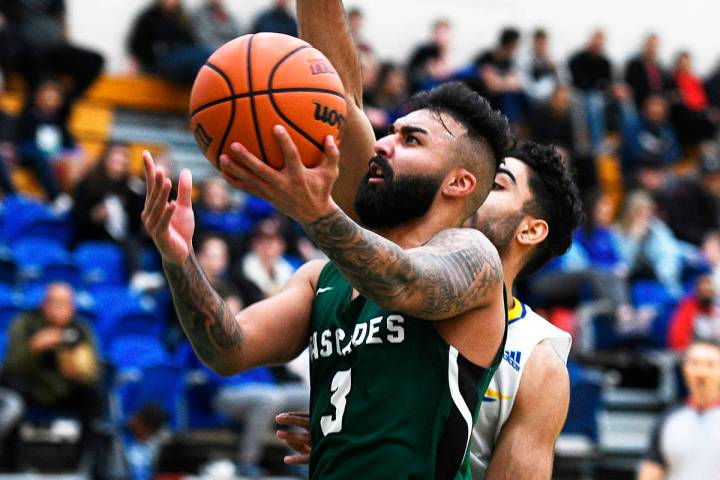 Parm Bains in action with the University of the Fraser Valley Cascades men's basketball team. (Submitted photo)