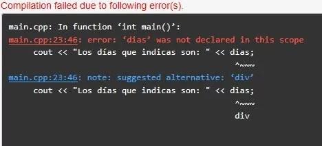 Error: Uso de variables fuera de su ámbito