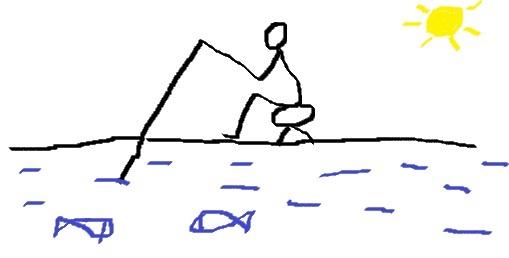 foto in jpg di qualcuno seduto con la canna da pesca in mano