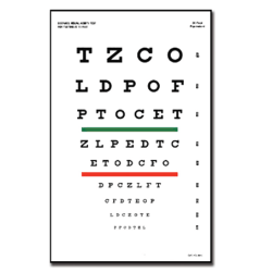 Snellen eye chart with red/green bar visual