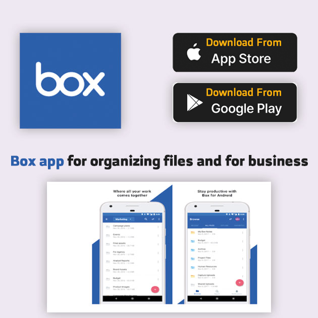 Box app for organizing files and for business
