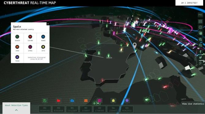 Des de la pàgina de karspersky podem fer un seguiment en temps real de les deteccions de virus