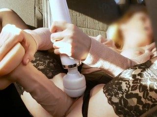 Busty Babe Plays With Huge Dildo In Taxi. Screams during orgasm