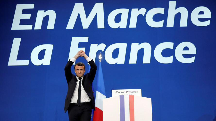 Image result for French stock exchange ticker increases 4.1% on Macron win